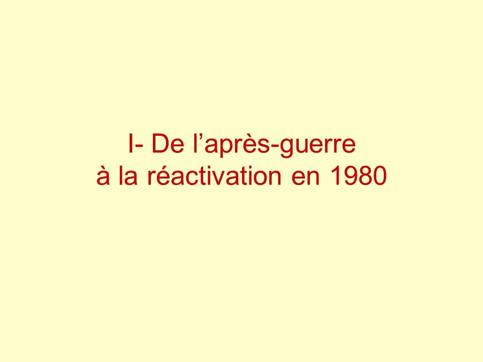 I- De laprès-guerre à la réactivation en 1980