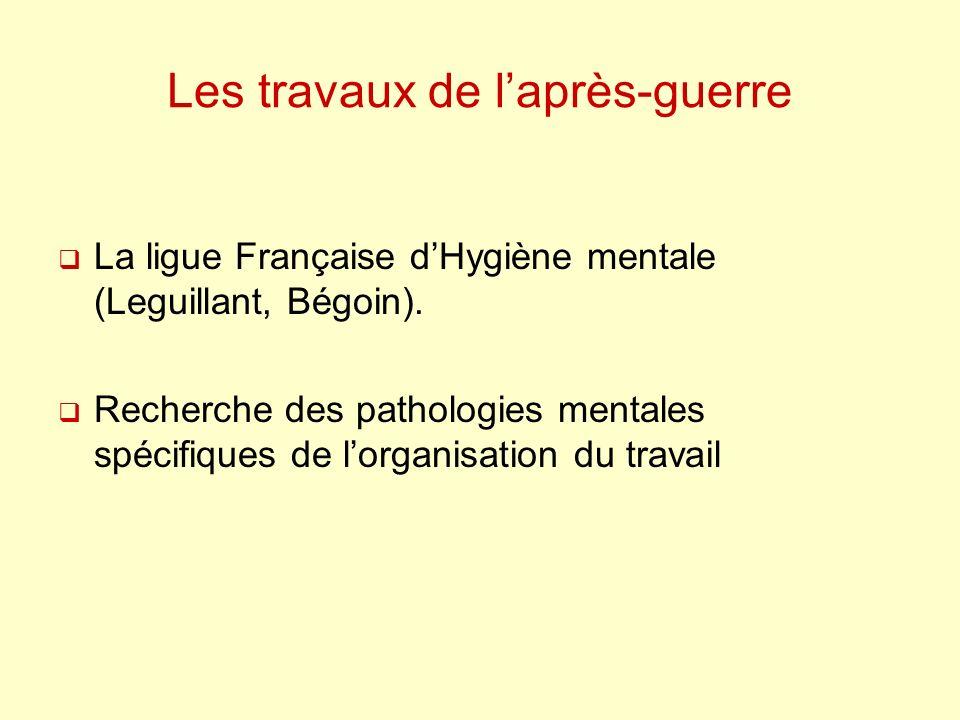 Les travaux de laprès-guerre La ligue Française dHygiène mentale (Leguillant, Bégoin).