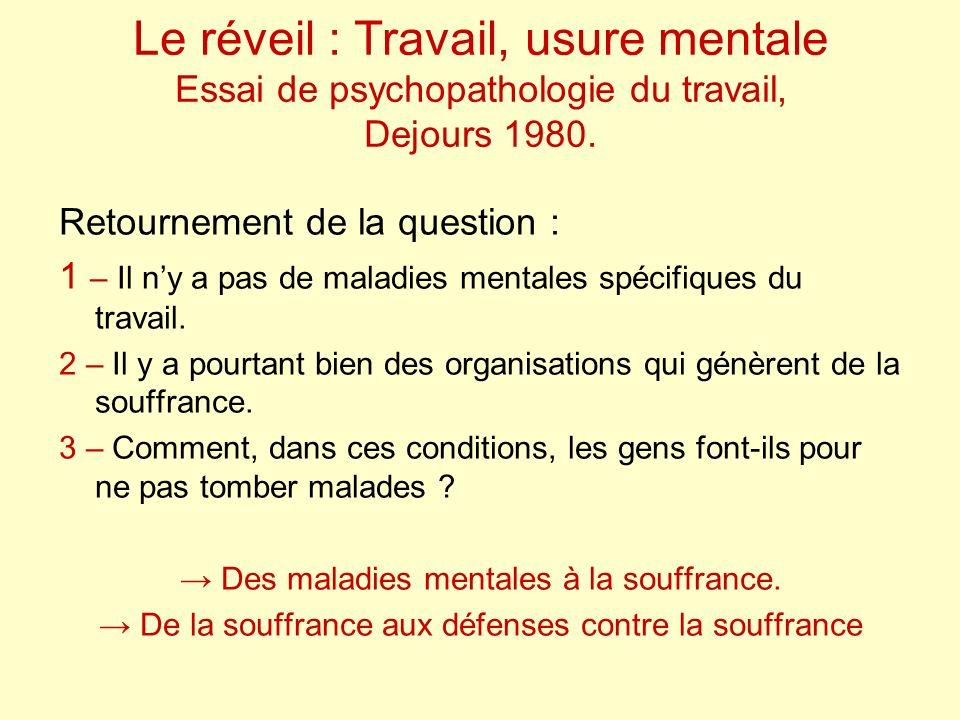 Le réveil : Travail, usure mentale Essai de psychopathologie du travail, Dejours 1980.