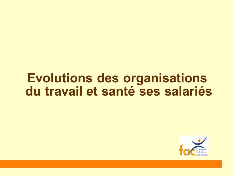 1 Evolutions des organisations du travail et santé ses salariés