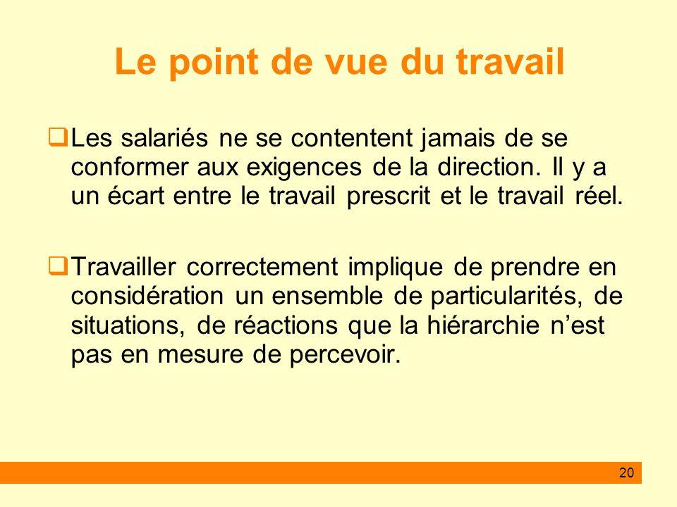 20 Le point de vue du travail Les salariés ne se contentent jamais de se conformer aux exigences de la direction.