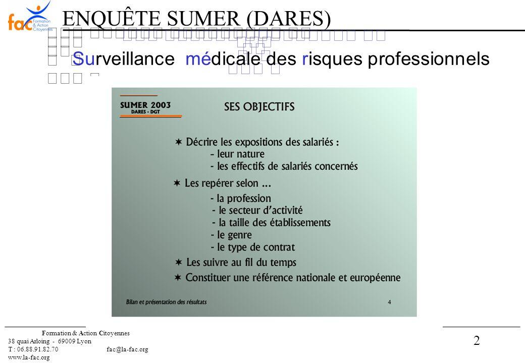 2 Formation & Action Citoyennes 38 quai Arloing - 69009 Lyon T : 06.88.91.82.70 fac@la-fac.org www.la-fac.org Surveillance médicale des risques professionnels ENQUÊTE SUMER (DARES)