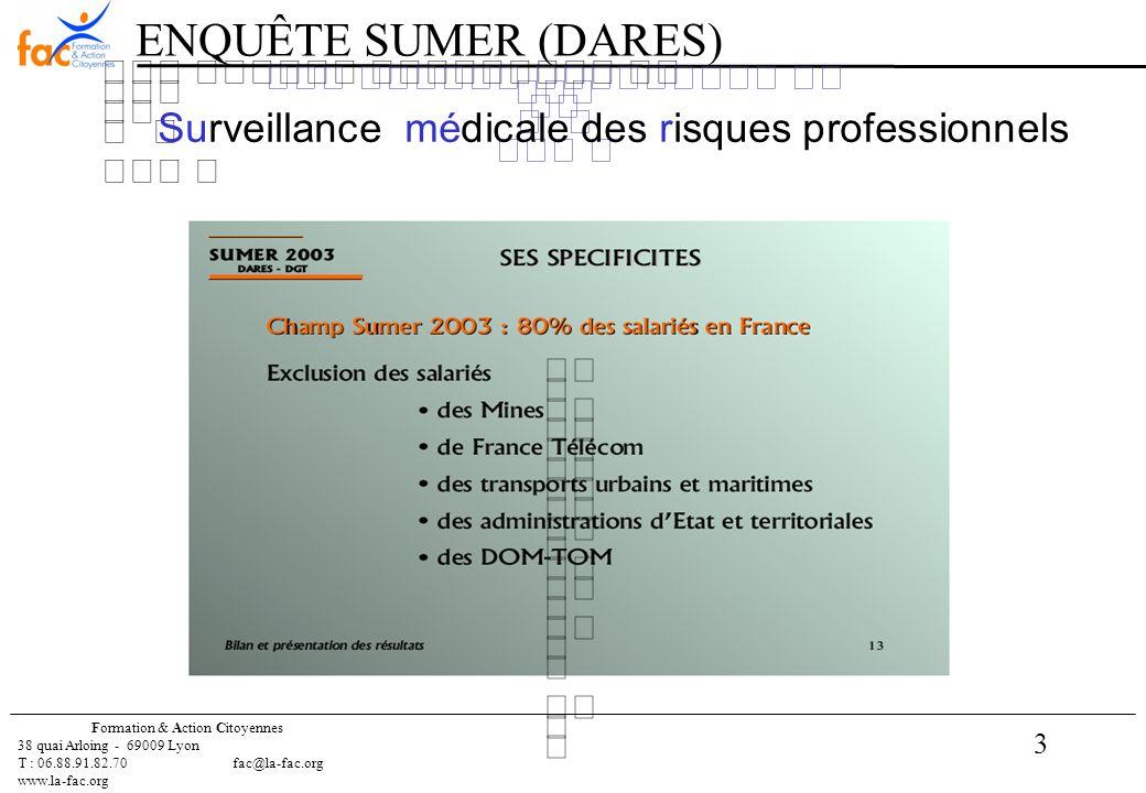 3 Formation & Action Citoyennes 38 quai Arloing - 69009 Lyon T : 06.88.91.82.70 fac@la-fac.org www.la-fac.org Surveillance médicale des risques professionnels ENQUÊTE SUMER (DARES)