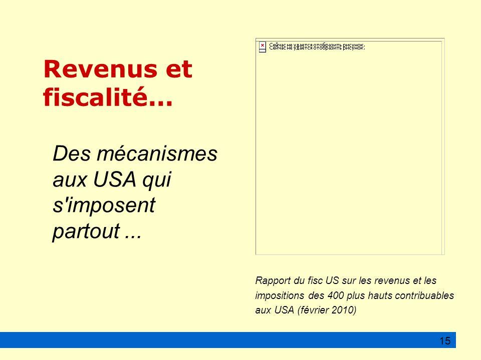 15 Rapport du fisc US sur les revenus et les impositions des 400 plus hauts contribuables aux USA (février 2010) Revenus et fiscalité...