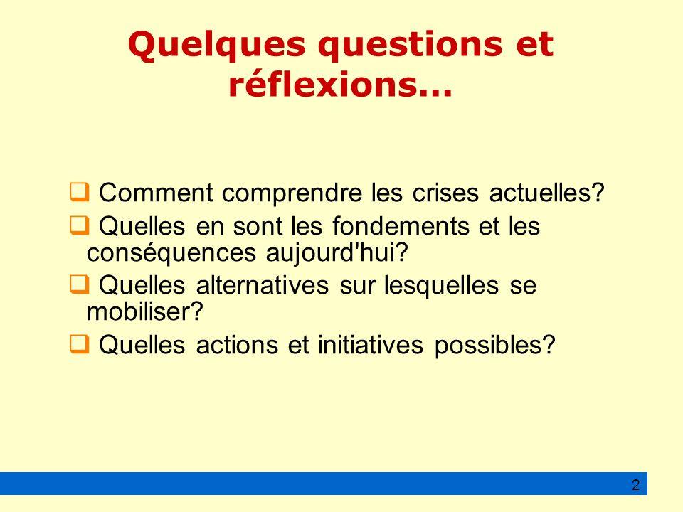 Quelques questions et réflexions... Comment comprendre les crises actuelles.