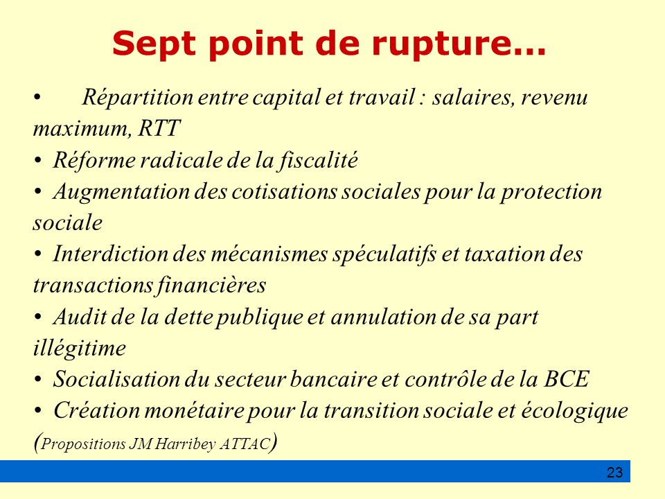 Sept point de rupture...