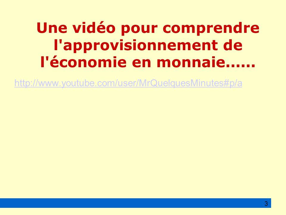 http://www.youtube.com/user/MrQuelquesMinutes#p/a 3 Une vidéo pour comprendre l approvisionnement de l économie en monnaie......