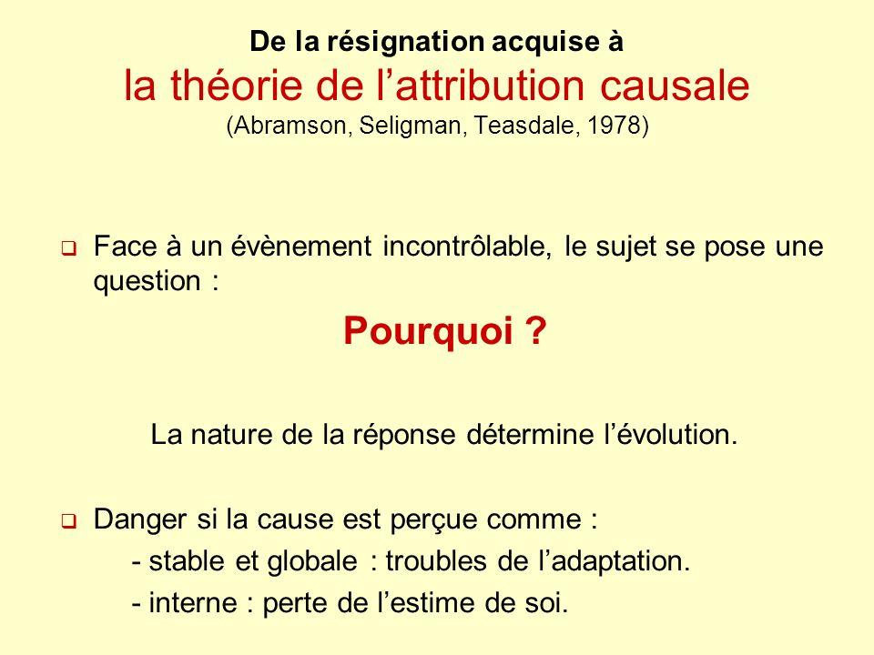 De la résignation acquise à la théorie de lattribution causale (Abramson, Seligman, Teasdale, 1978) Face à un évènement incontrôlable, le sujet se pos