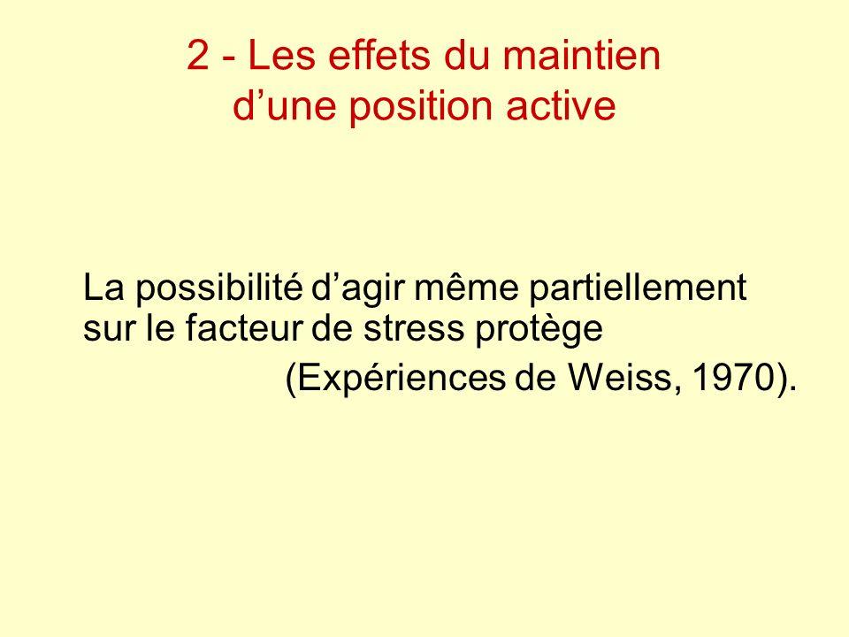 2 - Les effets du maintien dune position active La possibilité dagir même partiellement sur le facteur de stress protège (Expériences de Weiss, 1970).