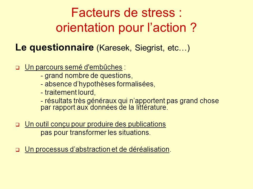 Facteurs de stress : orientation pour laction ? Le questionnaire (Karesek, Siegrist, etc…) Un parcours semé d'embûches : - grand nombre de questions,