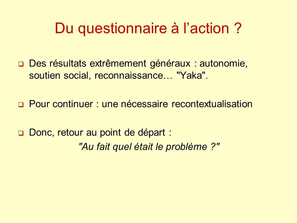 Du questionnaire à laction ? Des résultats extrêmement généraux : autonomie, soutien social, reconnaissance…