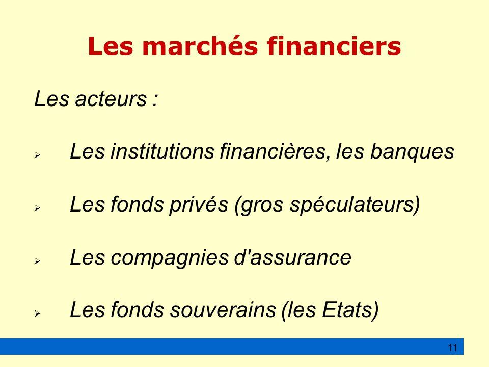 Les marchés financiers Les acteurs : Les institutions financières, les banques Les fonds privés (gros spéculateurs) Les compagnies d assurance Les fonds souverains (les Etats) 11