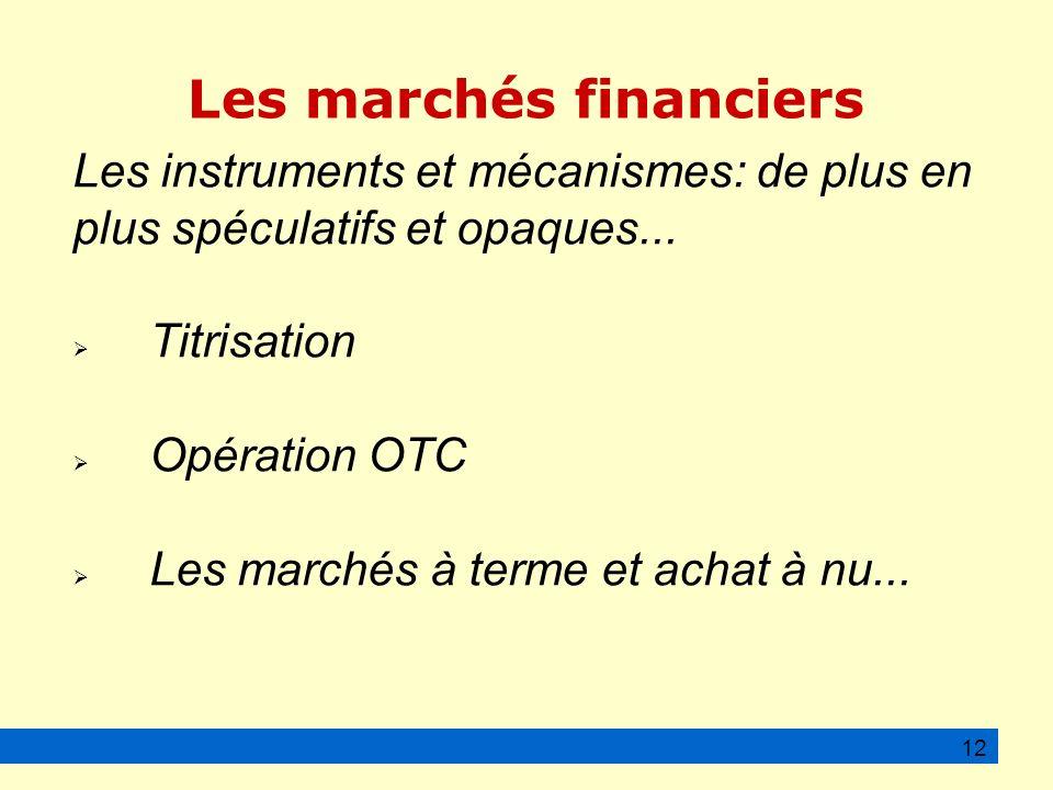 Les marchés financiers Les instruments et mécanismes: de plus en plus spéculatifs et opaques...