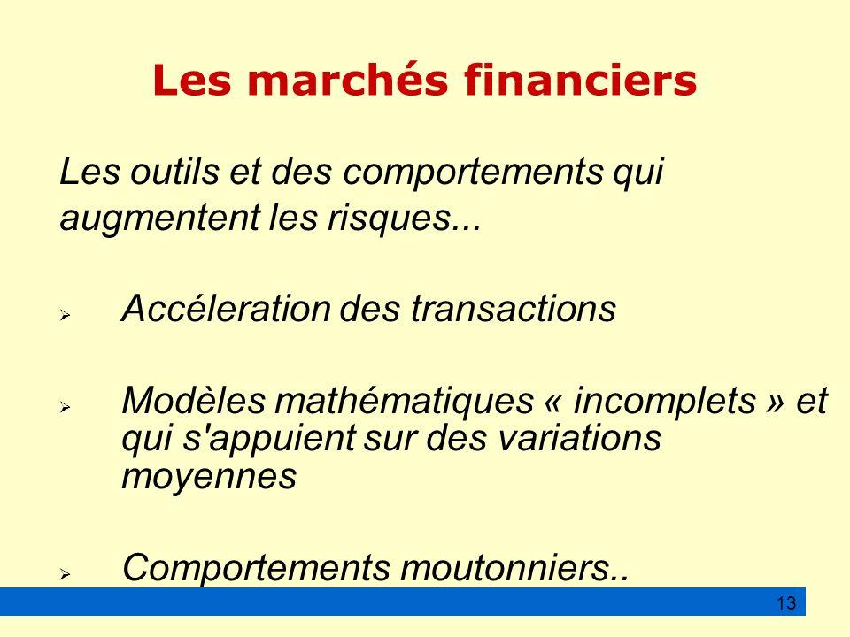 Les marchés financiers Les outils et des comportements qui augmentent les risques...