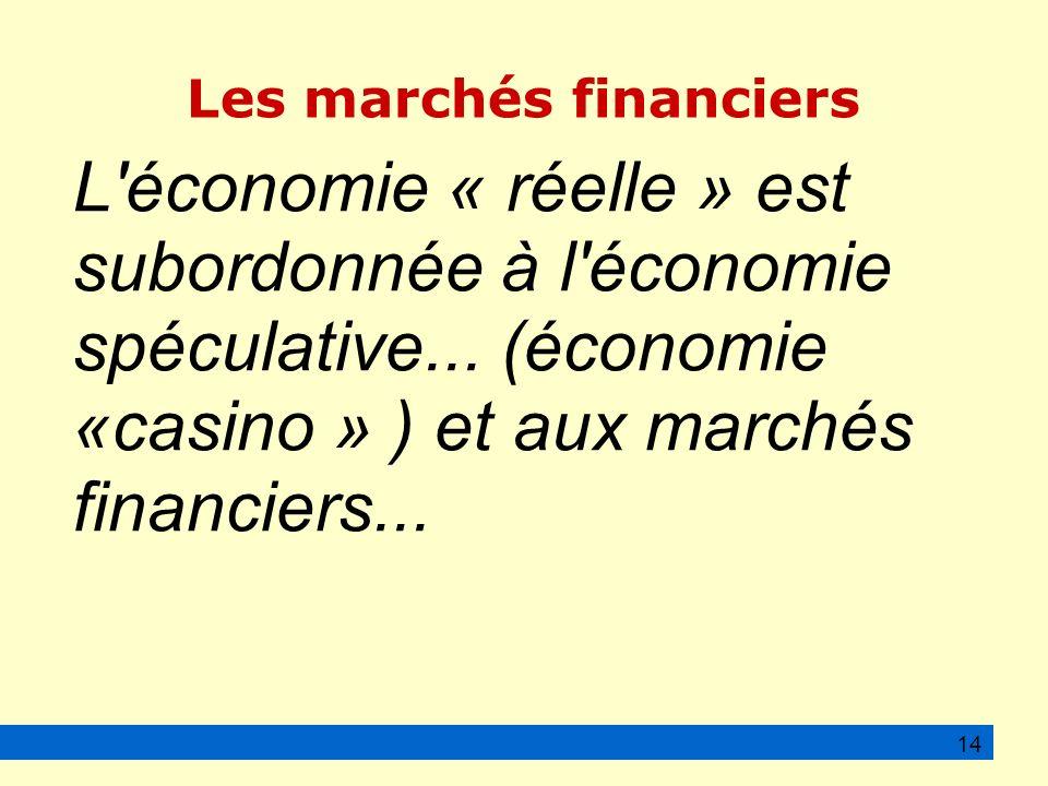 Les marchés financiers L économie « réelle » est subordonnée à l économie spéculative...