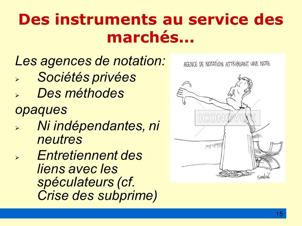 Des instruments au service des marchés...