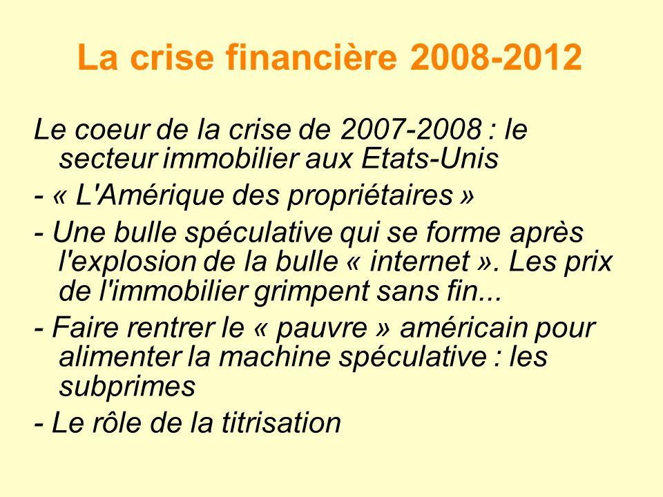 La crise financière 2008-2012 Le coeur de la crise de 2007-2008 : le secteur immobilier aux Etats-Unis - « L Amérique des propriétaires » - Une bulle spéculative qui se forme après l explosion de la bulle « internet ».