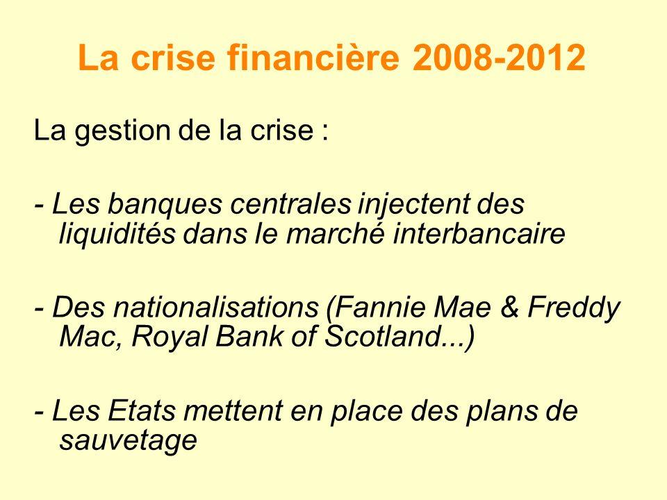 La crise financière 2008-2012 La gestion de la crise : - Les banques centrales injectent des liquidités dans le marché interbancaire - Des nationalisations (Fannie Mae & Freddy Mac, Royal Bank of Scotland...) - Les Etats mettent en place des plans de sauvetage