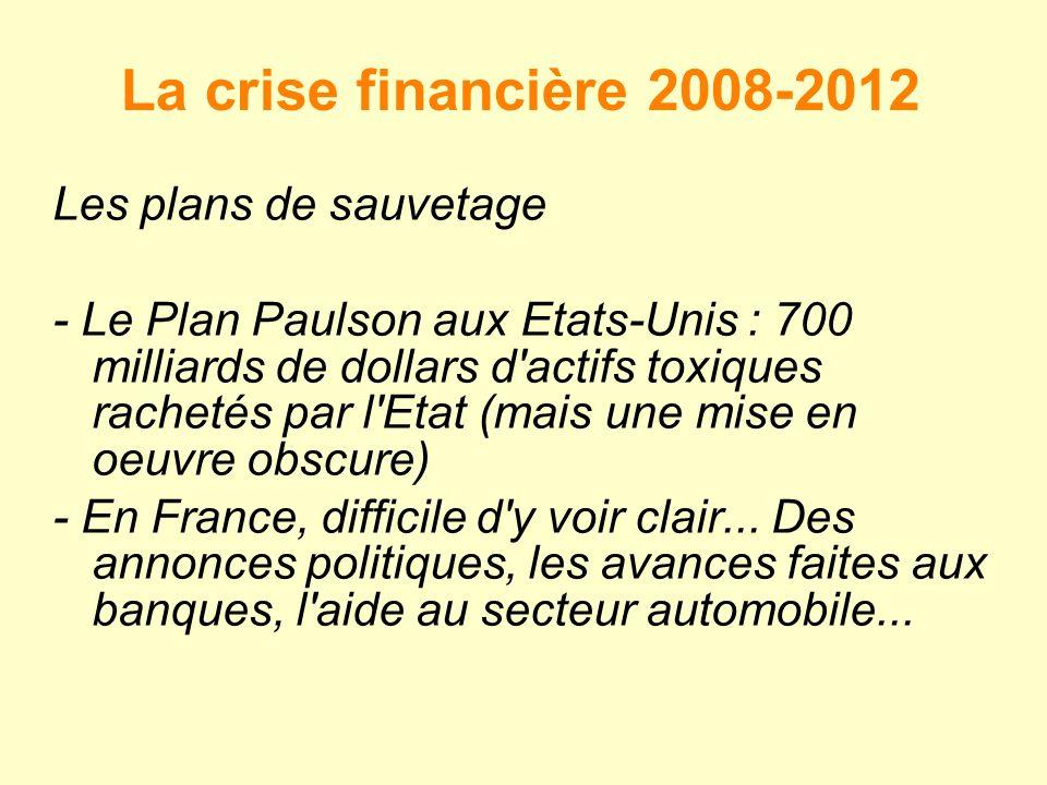 La crise financière 2008-2012 Les plans de sauvetage - Le Plan Paulson aux Etats-Unis : 700 milliards de dollars d actifs toxiques rachetés par l Etat (mais une mise en oeuvre obscure) - En France, difficile d y voir clair...