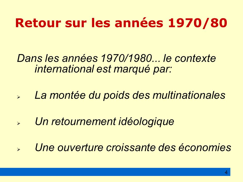 Retour sur les années 1970/80 Dans les années 1970/1980...