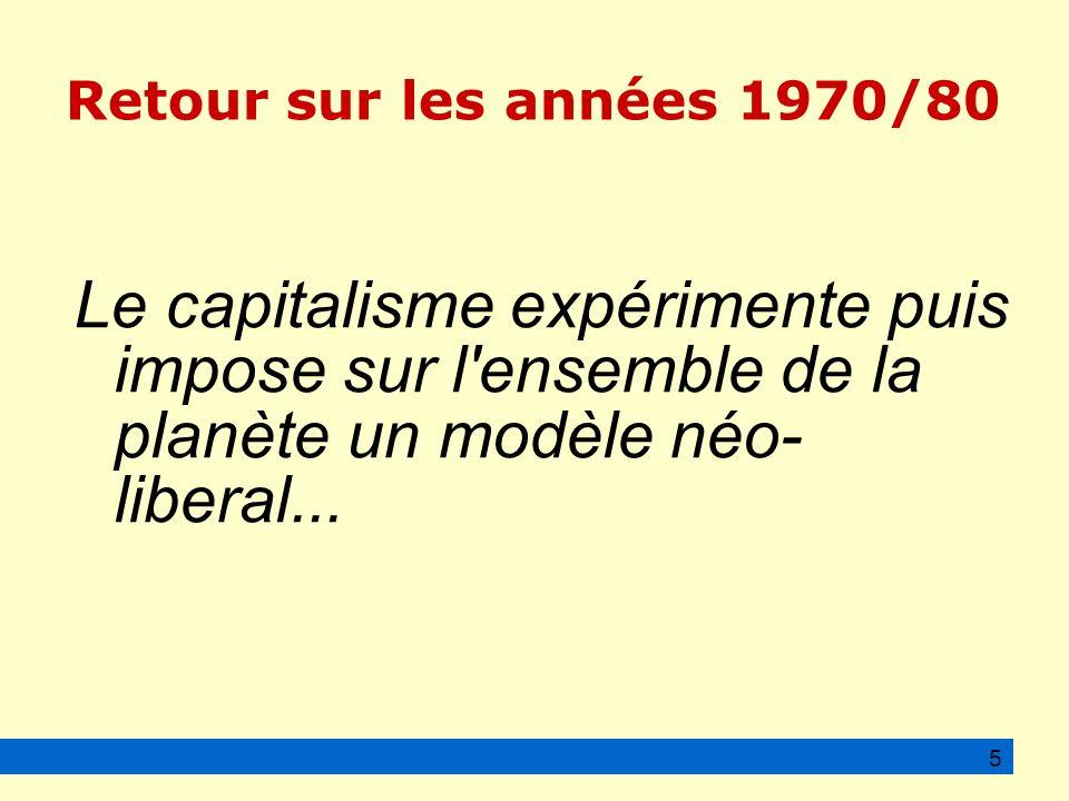 Retour sur les années 1970/80 Le capitalisme expérimente puis impose sur l ensemble de la planète un modèle néo- liberal...