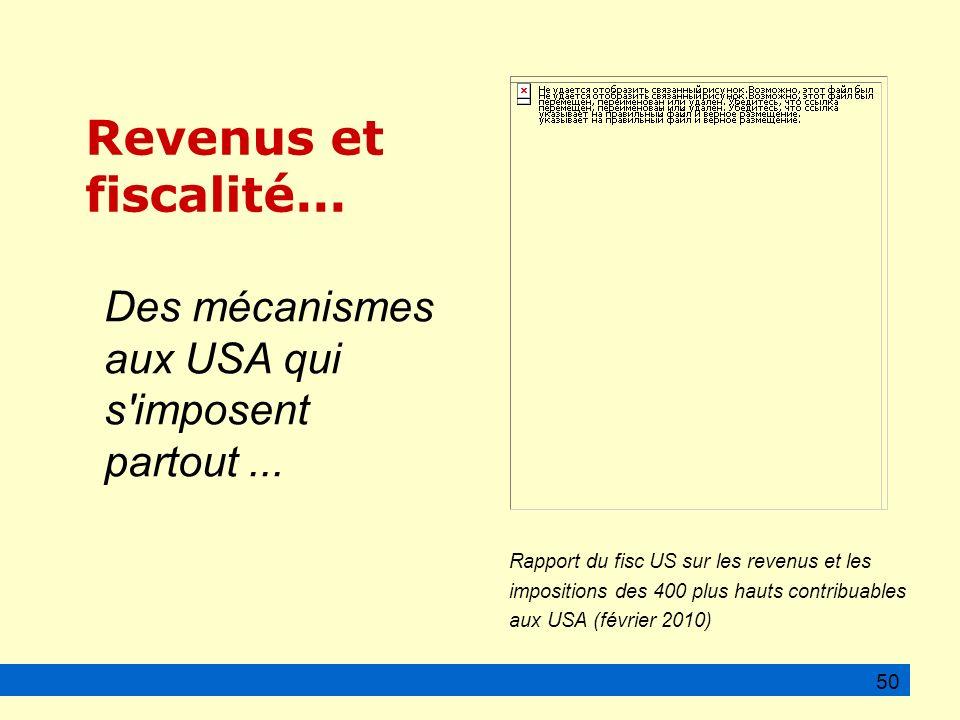 50 Rapport du fisc US sur les revenus et les impositions des 400 plus hauts contribuables aux USA (février 2010) Revenus et fiscalité...