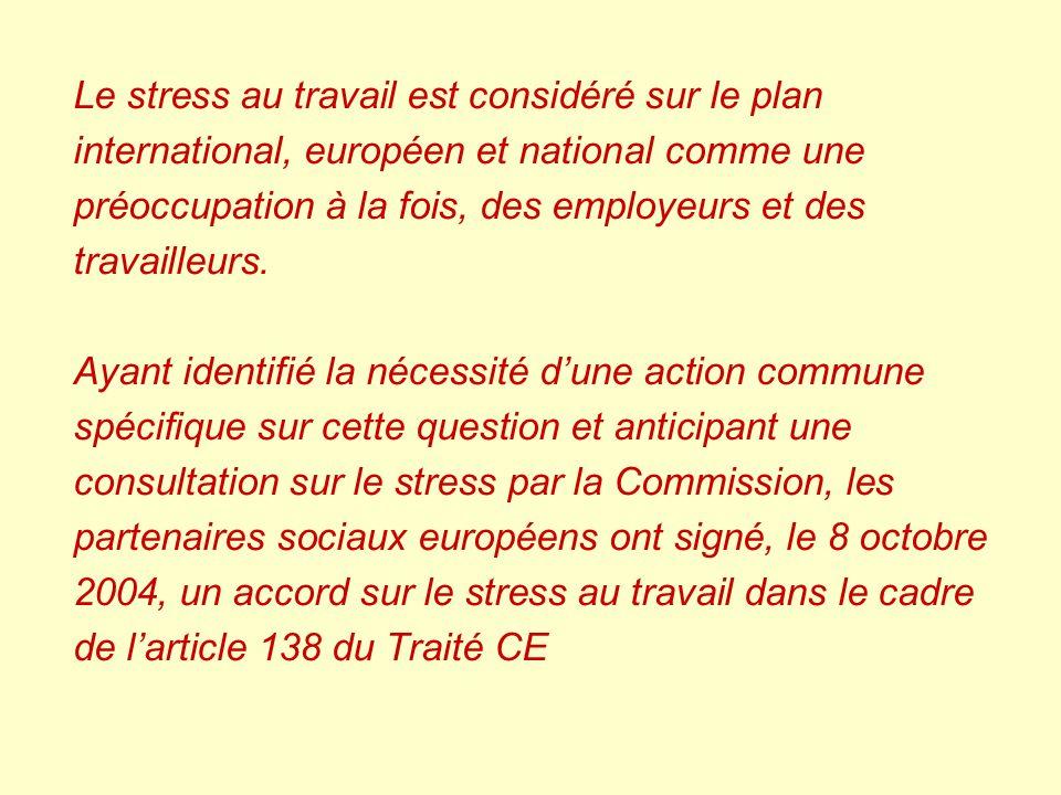 Le stress au travail est considéré sur le plan international, européen et national comme une préoccupation à la fois, des employeurs et des travailleu