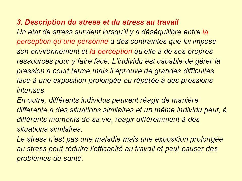 3. Description du stress et du stress au travail Un état de stress survient lorsquil y a déséquilibre entre la perception quune personne a des contrai