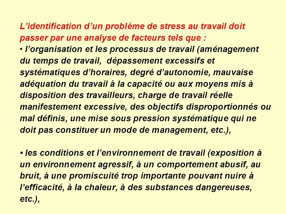Lidentification dun problème de stress au travail doit passer par une analyse de facteurs tels que : lorganisation et les processus de travail (aménag