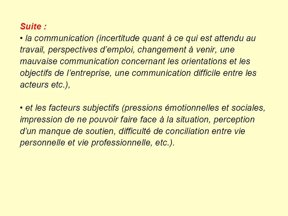 Suite : la communication (incertitude quant à ce qui est attendu au travail, perspectives demploi, changement à venir, une mauvaise communication conc