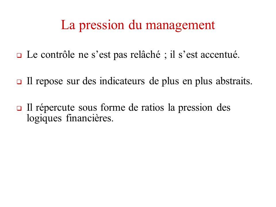 La pression du management Le contrôle ne sest pas relâché ; il sest accentué.