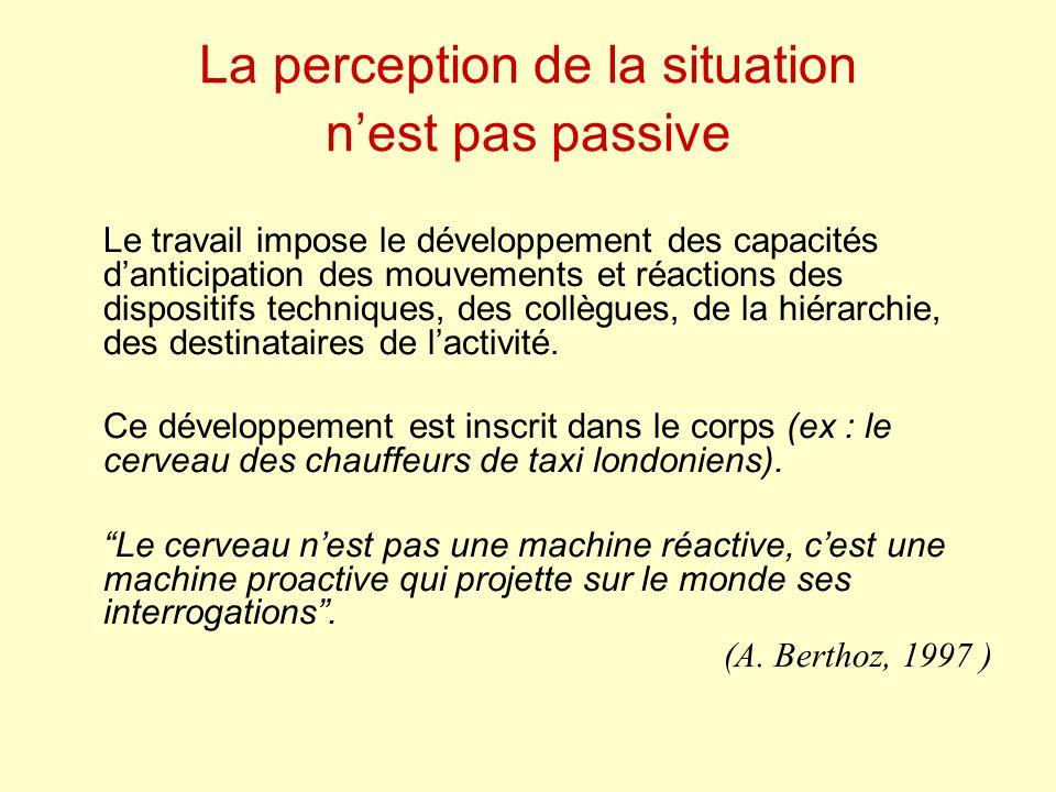 La perception de la situation nest pas passive Le travail impose le développement des capacités danticipation des mouvements et réactions des dispositifs techniques, des collègues, de la hiérarchie, des destinataires de lactivité.