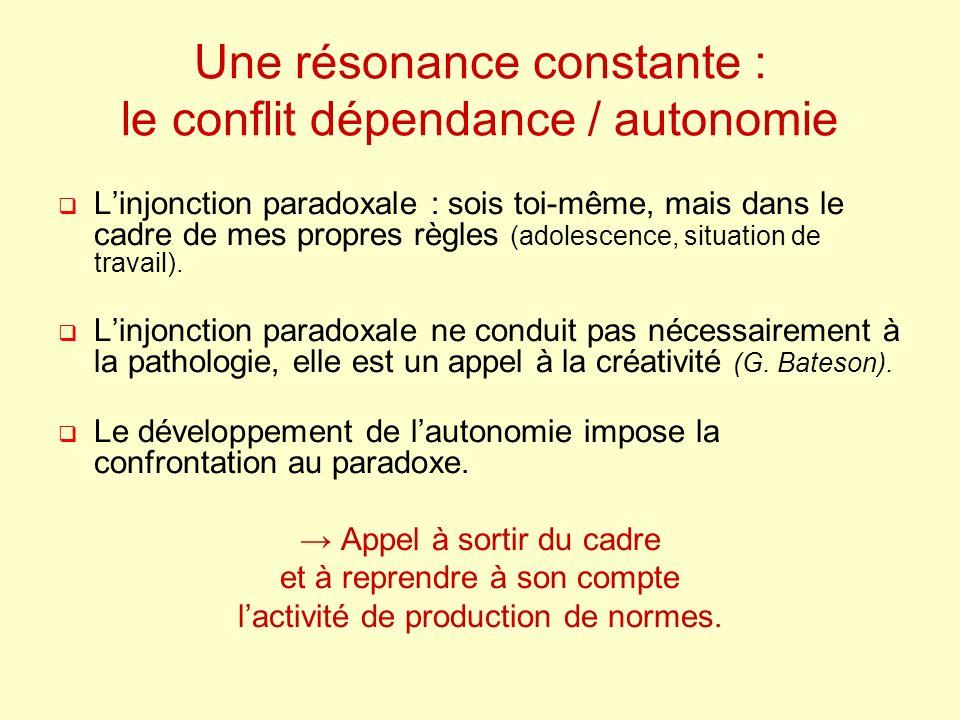 Une résonance constante : le conflit dépendance / autonomie Linjonction paradoxale : sois toi-même, mais dans le cadre de mes propres règles (adolescence, situation de travail).