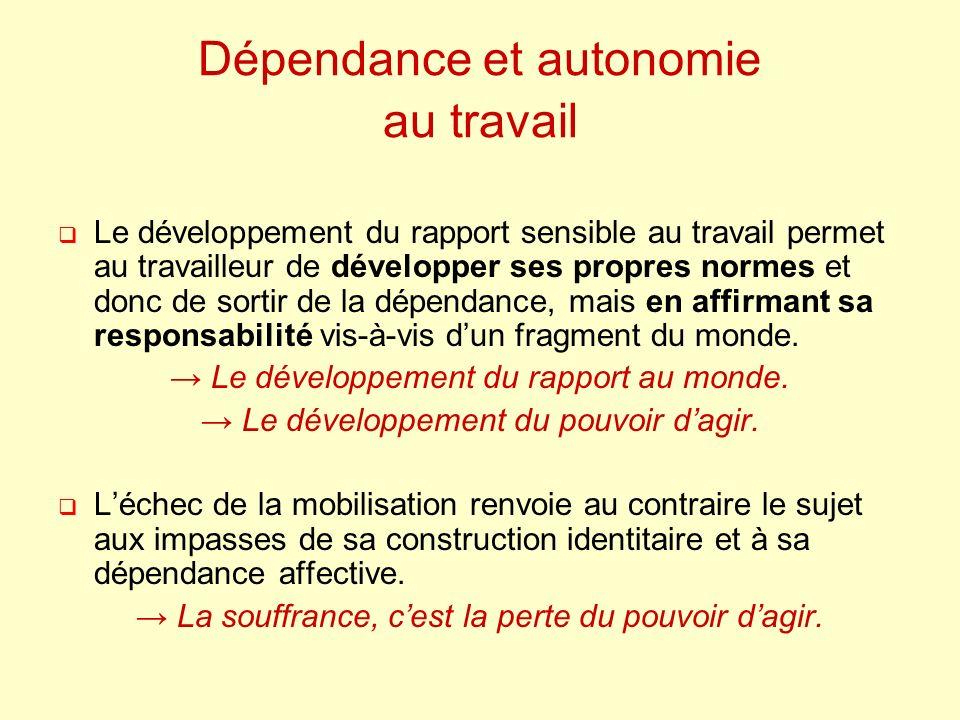 Dépendance et autonomie au travail Le développement du rapport sensible au travail permet au travailleur de développer ses propres normes et donc de sortir de la dépendance, mais en affirmant sa responsabilité vis-à-vis dun fragment du monde.