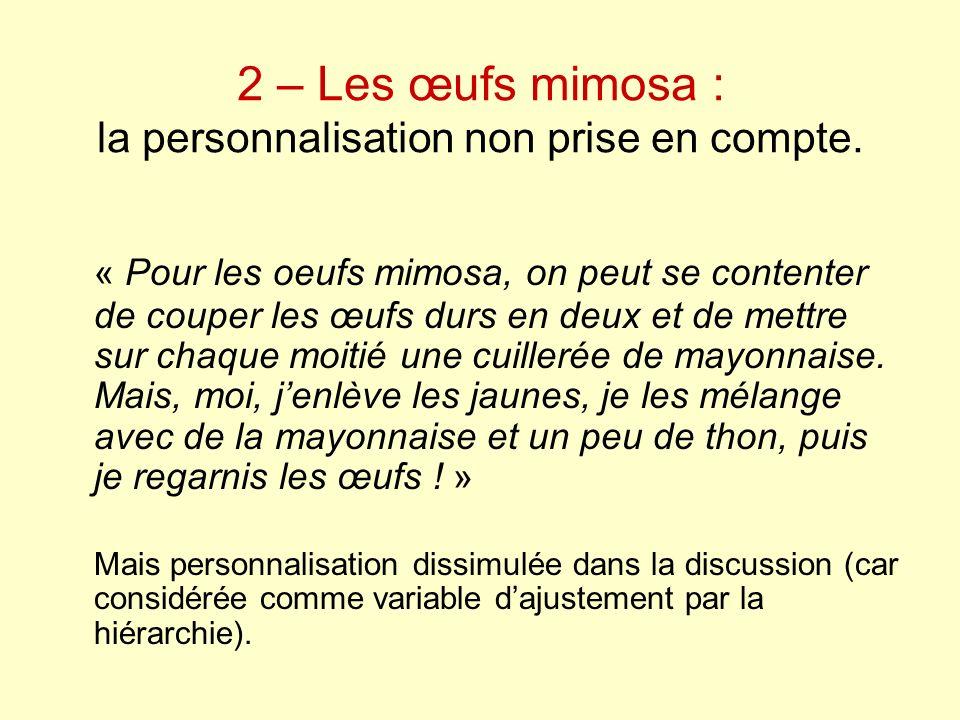 2 – Les œufs mimosa : la personnalisation non prise en compte.
