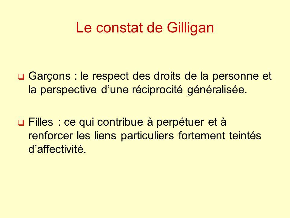 Le constat de Gilligan Garçons : le respect des droits de la personne et la perspective dune réciprocité généralisée.
