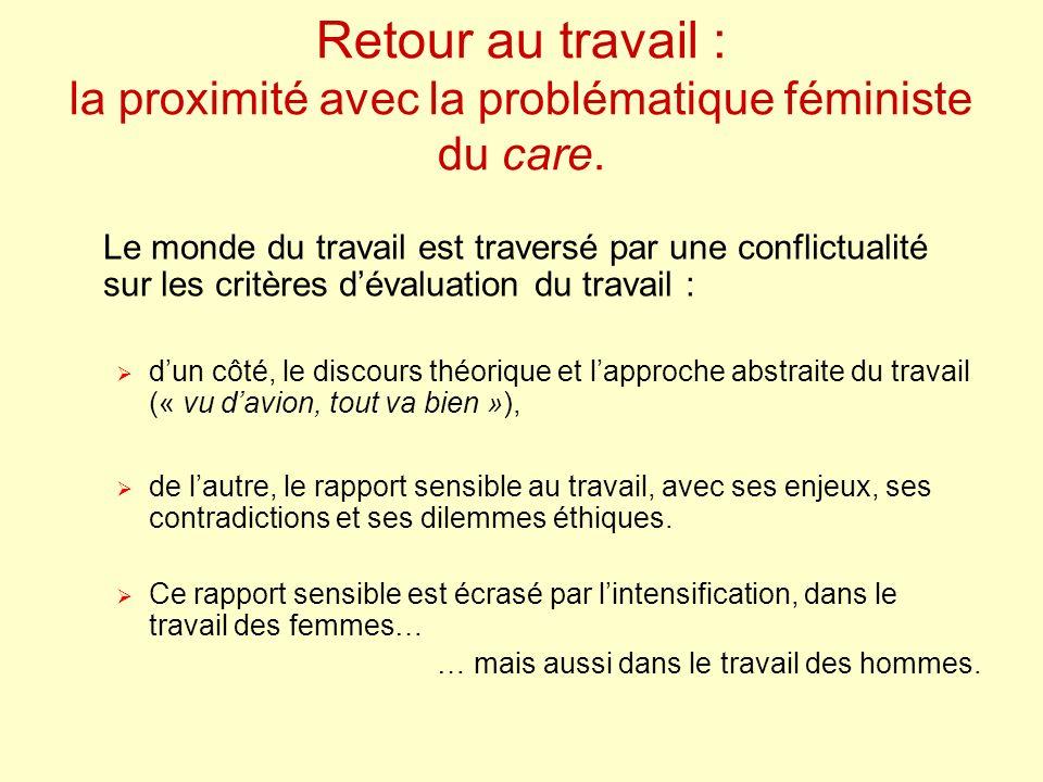 Retour au travail : la proximité avec la problématique féministe du care.