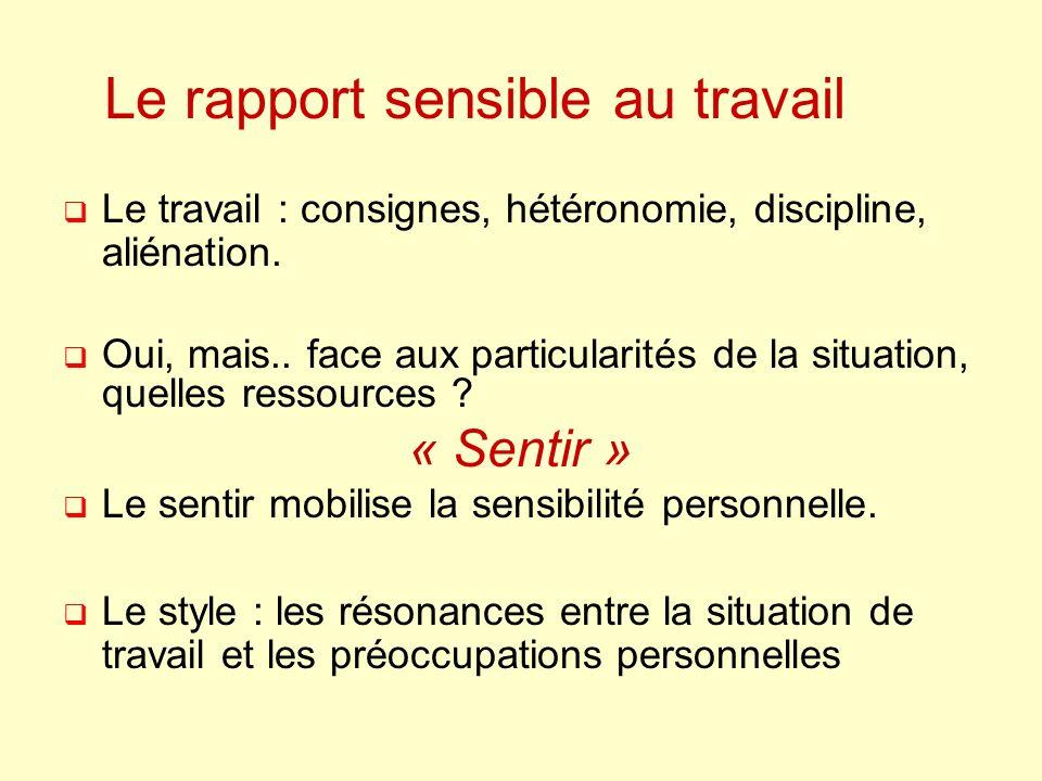Le rapport sensible au travail Le travail : consignes, hétéronomie, discipline, aliénation.