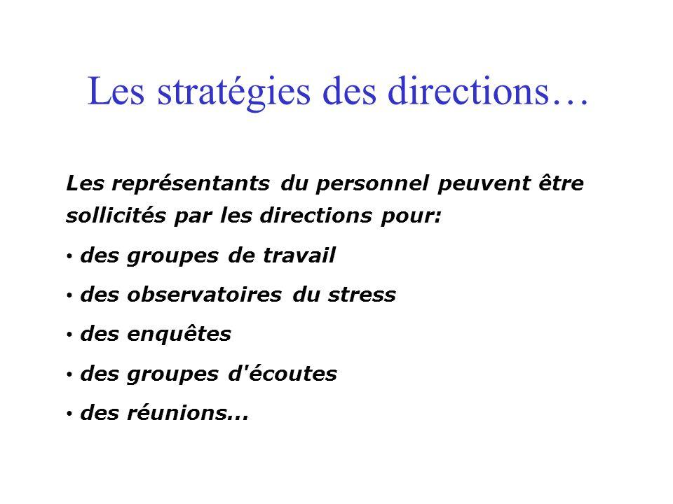 Les stratégies des directions… Les représentants du personnel peuvent être sollicités par les directions pour: des groupes de travail des observatoires du stress des enquêtes des groupes d écoutes des réunions...