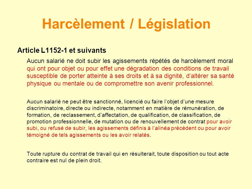 Article L1152-1 et suivants Aucun salarié ne doit subir les agissements répétés de harcèlement moral qui ont pour objet ou pour effet une dégradation