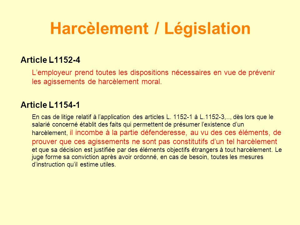 Article L1152-4 Lemployeur prend toutes les dispositions nécessaires en vue de prévenir les agissements de harcèlement moral. Article L1154-1 En cas d