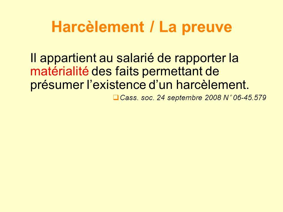 Il appartient au salarié de rapporter la matérialité des faits permettant de présumer lexistence dun harcèlement. Cass. soc. 24 septembre 2008 N° 06-4