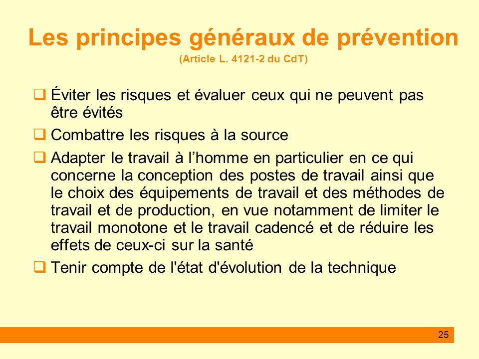 25 Les principes généraux de prévention (Article L. 4121-2 du CdT) Éviter les risques et évaluer ceux qui ne peuvent pas être évités Combattre les ris