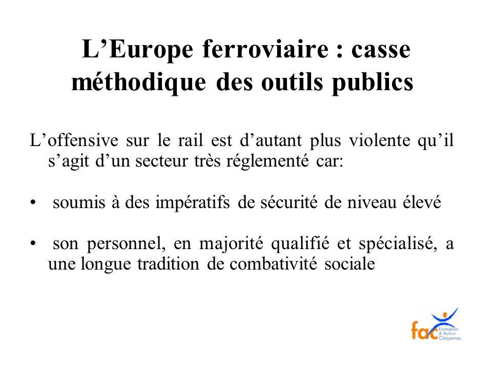 LEurope ferroviaire : casse méthodique des outils publics Loffensive sur le rail est dautant plus violente quil sagit dun secteur très réglementé car: