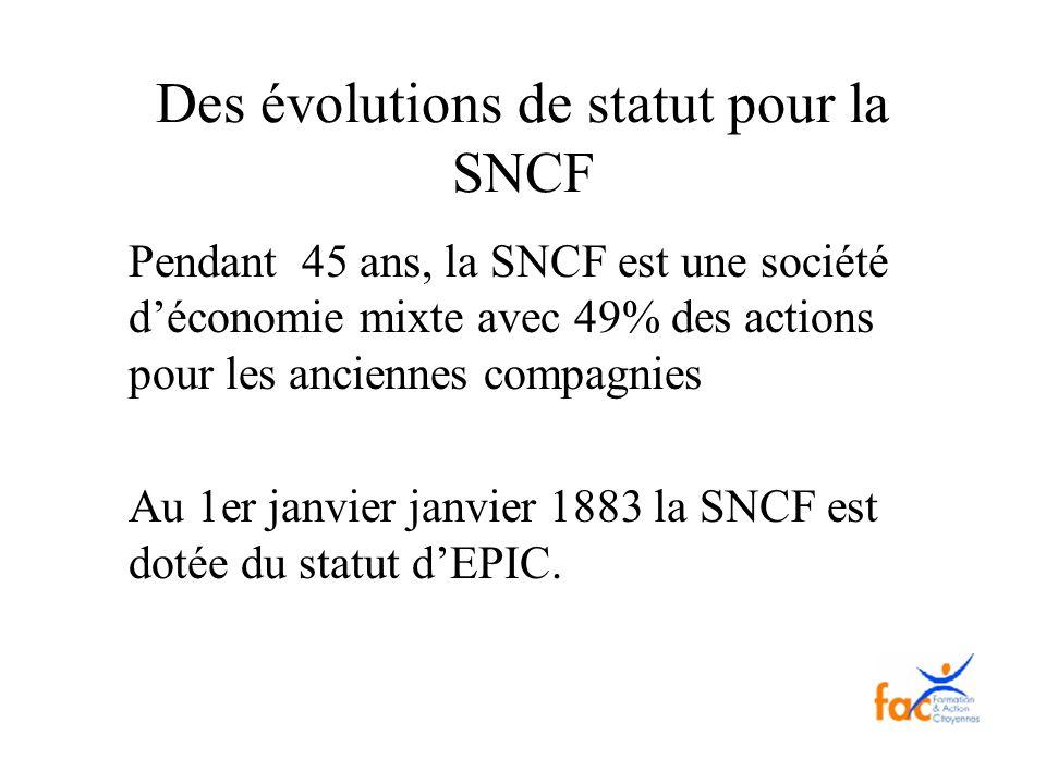 Des évolutions de statut pour la SNCF Pendant 45 ans, la SNCF est une société déconomie mixte avec 49% des actions pour les anciennes compagnies Au 1e