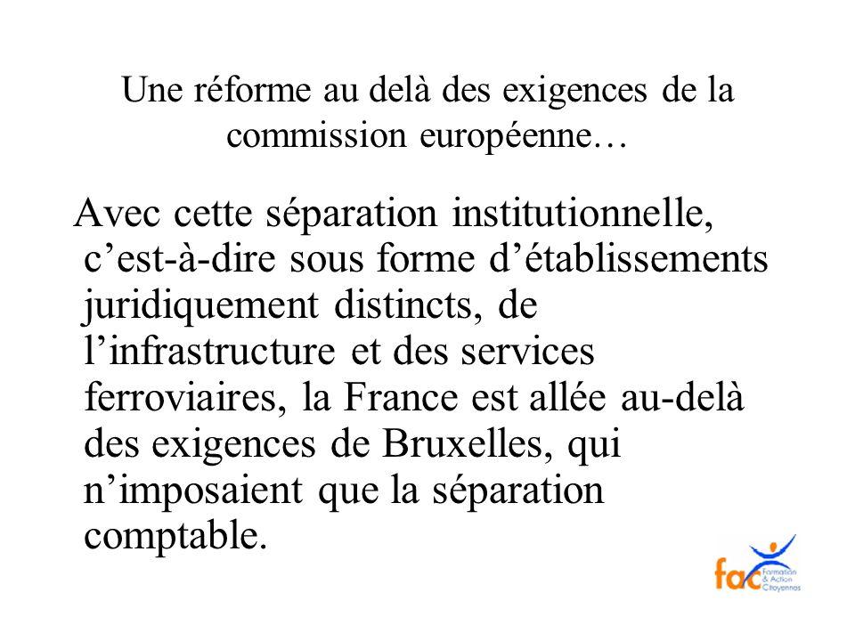 Une réforme au delà des exigences de la commission européenne… Avec cette séparation institutionnelle, cest-à-dire sous forme détablissements juridiqu
