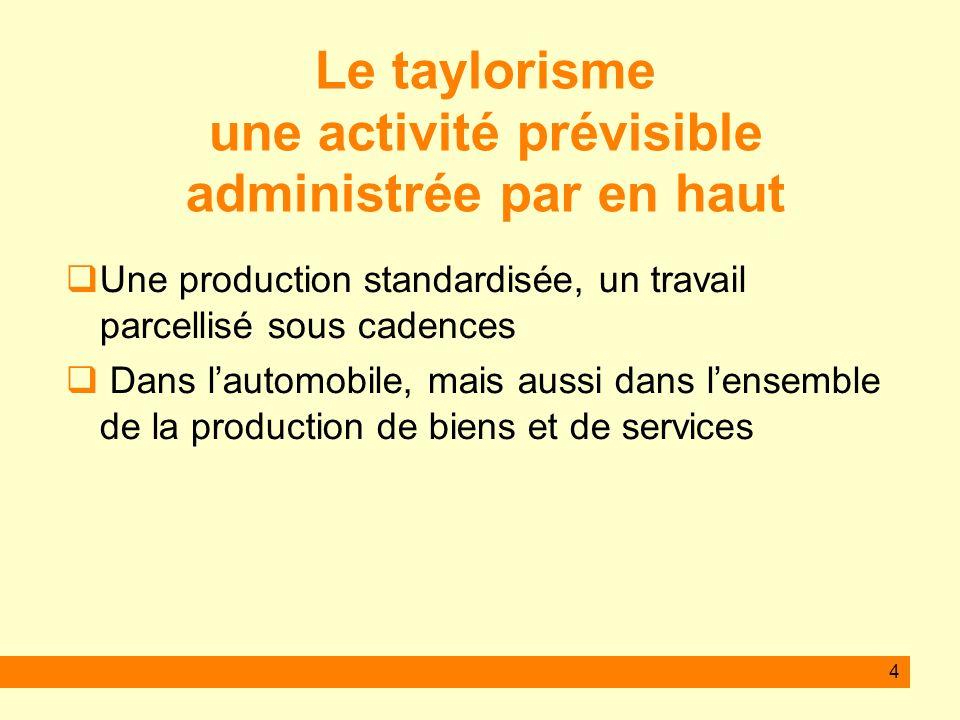 4 Le taylorisme une activité prévisible administrée par en haut Une production standardisée, un travail parcellisé sous cadences Dans lautomobile, mais aussi dans lensemble de la production de biens et de services