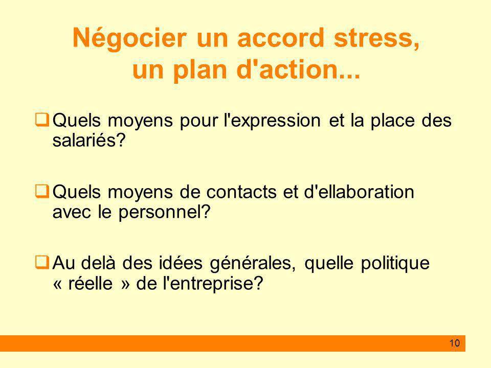 10 Négocier un accord stress, un plan d action...