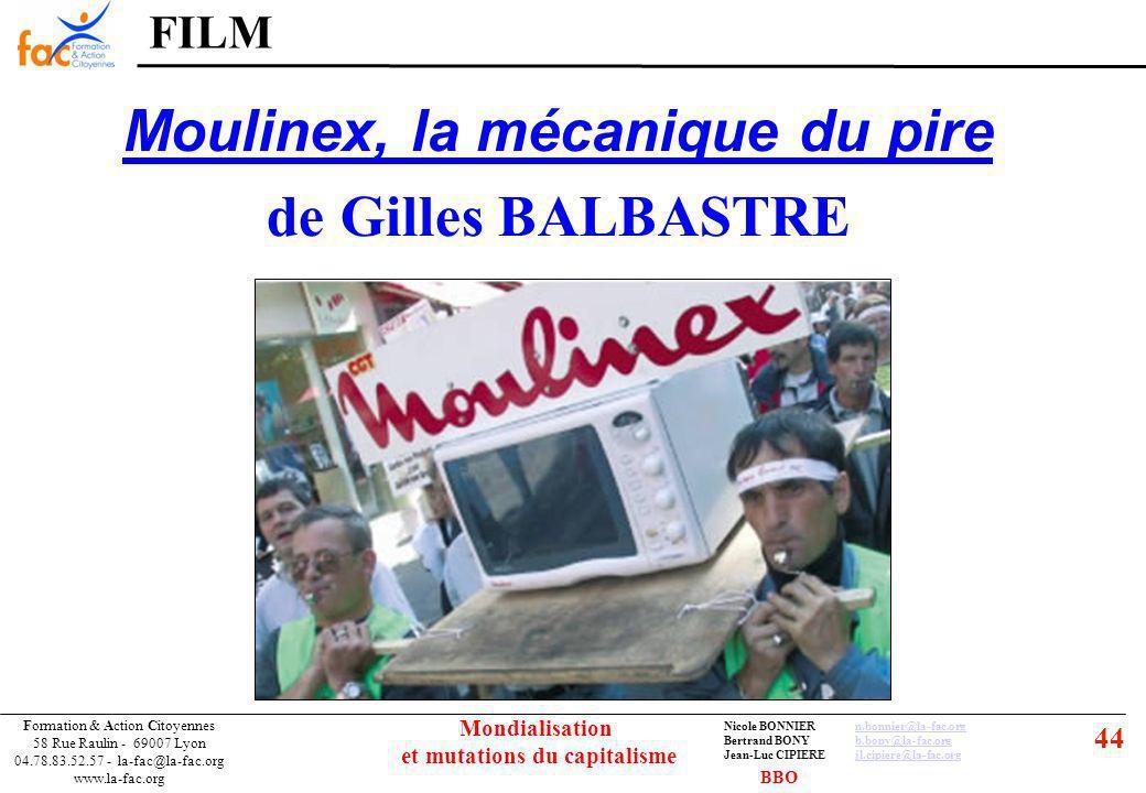 44 Formation & Action Citoyennes 58 Rue Raulin - 69007 Lyon 04.78.83.52.57 - la-fac@la-fac.org www.la-fac.org Nicole BONNIERn.bonnier@la-fac.orgn.bonnier@la-fac.org Bertrand BONYb.bony@la-fac.orgb.bony@la-fac.org Jean-Luc CIPIEREjl.cipiere@la-fac.orgjl.cipiere@la-fac.org Mondialisation et mutations du capitalisme FILM Moulinex, la mécanique du pire de Gilles BALBASTRE BBO