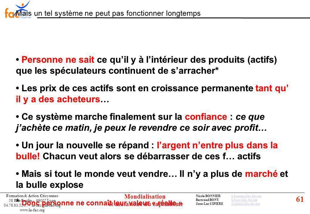 61 Formation & Action Citoyennes 58 Rue Raulin - 69007 Lyon 04.78.83.52.57 - la-fac@la-fac.org www.la-fac.org Nicole BONNIERn.bonnier@la-fac.orgn.bonnier@la-fac.org Bertrand BONYb.bony@la-fac.orgb.bony@la-fac.org Jean-Luc CIPIEREjl.cipiere@la-fac.orgjl.cipiere@la-fac.org Mondialisation et mutations du capitalisme Mais un tel système ne peut pas fonctionner longtemps Les prix de ces actifs sont en croissance permanente tant qu il y a des acheteurs… Personne ne sait ce quil y à lintérieur des produits (actifs) que les spéculateurs continuent de sarracher* Ce système marche finalement sur la confiance : ce que jachète ce matin, je peux le revendre ce soir avec profit… Un jour la nouvelle se répand : largent nentre plus dans la bulle.